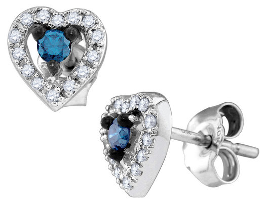 White and Blue Diamond Heart Earrings 1/5 Carat (ctw) in 10K White Gold