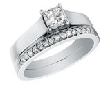 Princess Cut Diamond Engagement Ring & Wedding Band Set 1/2 Carat (ctw) in 14K White Gold