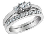 Diamond Engagement Ring and Wedding Band 1/3 Carat (ctw) 14K White Gold