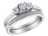 Three Stone Diamond Engagement Ring and Wedding Band 3/5 Carat (ctw) 14K White Gold