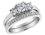 Diamond Engagement Ring and Wedding Band 1.18 Carat (ctw) 14K White Gold