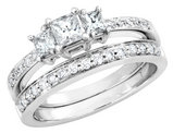 Three Stone Princess Cut Diamond Engagement Ring and Wedding Band Set 1/2 Carat (ctw) in 14K White Gold