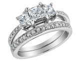 Three Stone Diamond Engagement Ring and Wedding Band Set 1.16 Carat (ctw) in 14K White Gold