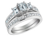 Three Stone Diamond Engagement Ring & Wedding Band Set 2.17 Carat (ctw) in 14K White Gold