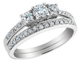 Diamond Engagement Ring and Wedding Band 3/4 Carat (ctw) 14K White Gold