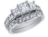 Princess Cut Three Stone Diamond Engagement Ring & Wedding Band Set 1.87 Carat (ctw) in 14K White Gold