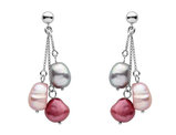 Multicolor Cultured Freshwater Pearl 9-10mm Earrings in Sterling Silver