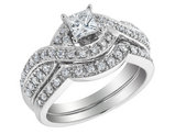 Princess Cut Diamond Engagement Ring and Wedding Band Set 3/4 Carat (ctw) in 14K White Gold