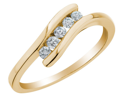 Diamond Journey Promise Ring 1/5 Carat (ctw) in 10K Yellow Gold