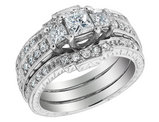 Princess Cut Diamond Engagement Ring & Double Wedding Band 1.10 Carat (ctw) 14K White Gold