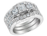 Diamond Engagement Ring & Double Wedding Band 1.88 Carat (ctw) 14K White Gold
