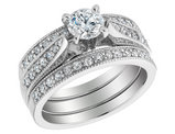Diamond Engagement Ring & Double Wedding Band 1.0 Carat (ctw) 14K White Gold