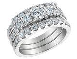 Diamond Engagement Ring & Double Wedding Band 1.33 Carat (ctw) 14K White Gold