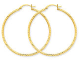 Large Diamond Cut Hoop Earrings in 10K Yellow Gold 1 1/2 inch (2 mm)