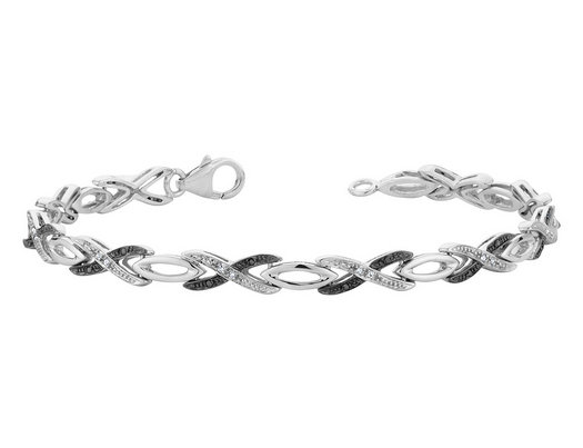 White and Black Diamond Infinity Bracelet 1/6 Carat (ctw) in Sterling Silver