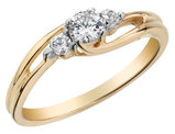 Three Stone Diamond Engagement Ring 1/4 Carat (ctw) in 10K Yellow Gold