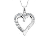 Diamond Heart Pendant Necklace 1/8 Carat (ctw) in 10K White Gold with Chain