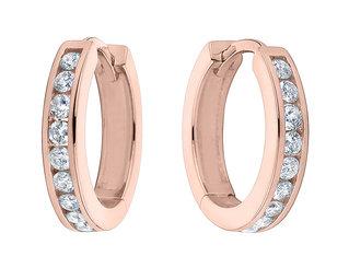 Huggie Hoop Diamond Earrings 1/2 ctw in 10K Rose Pink Gold (1/2 inch)