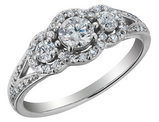 Three Stone Diamond Engagement Ring 3/4 Carat (ctw) in 14K White Gold