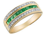 Emerald Ring with Diamonds 7/10 Carat (ctw) in 10K Yellow Gold