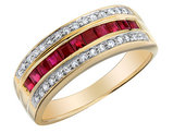 Ruby Ring with Diamonds 7/10 Carat (ctw) in 10K Yellow Gold