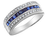 Blue Sapphire Ring with Diamonds 7/10 Carat (ctw) in 10K White Gold