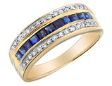Blue Sapphire Ring with Diamonds 7/10 Carat (ctw) in 10K Yellow Gold
