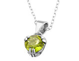 6mm Peridot Pendant Necklace in Sterling Silver with Chain