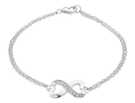 Infinite Love Double Heart Created White Topaz Bracelet in Sterling Silver