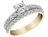 Princess Cut Diamond Engagement Ring and Wedding Band Set 1.0 Carat (ctw) in 14K Yellow Gold