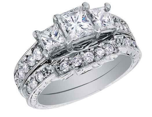 Three Stone Princess Cut Diamond Engagement Ring Wedding Band Set 1 Carat Ctw