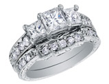Three Stone Princess Cut Diamond Engagement Ring & Wedding Band Set 1 Carat (ctw) in 14K White Gold