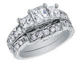 Three Stone Princess Cut Diamond Engagement Ring & Wedding Band Set 1 Carat (ctw) in 14K White Gold