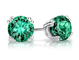 6mm Created Emerald Stud Earrings 1.50 Carat (ctw) in Sterling Silver