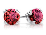 6mm Created Ruby Stud Earrings 2.0 Carat (ctw) in Sterling Silver