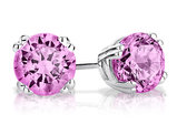 Created Pink Sapphire Stud Earrings 1.0 Carat (ctw) in Sterling Silver