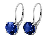 Created Blue Sapphire Earrings 4.0 Carat (ctw) in Sterling Silver