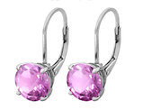 Created Pink Sapphire Earrings 4.0 Carat (ctw) in Sterling Silver