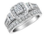 Diamond Engagement Ring & Wedding Band Set 2/5 Carat (ctw) in 10K White Gold