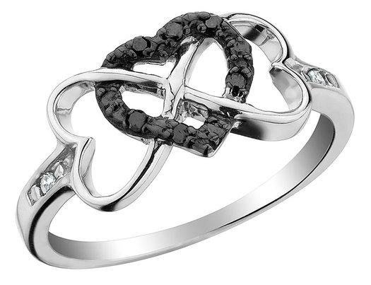 Infinity Triple Heart Black Diamond Ring 1/10 Carat (ctw) in Sterling Silver