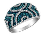 White and Blue Diamond Ring 1/2 Carat (ctw) in 10K White Gold