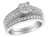Princess Cut Diamond Engagement Ring and Wedding Band Set 1.04 Carat (ctw) in 14K White Gold