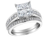 Princess Cut Diamond Engagement Ring and Wedding Band Set 2.01 Carat (ctw) in 14K White Gold