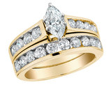 Diamond Marquise Cut Engagement Ring & Wedding Band Set 1.5 Carat (ctw) in 14K Yellow Gold
