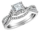 Infinity Princess Cut Diamond Engagement Ring & Wedding Band 1/2 Carat (ctw) in 14K White Gold