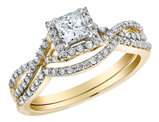 Infinity Princess Cut Diamond Engagement Ring & Wedding Band 2/3 Carat (ctw) in 14K Yellow Gold