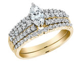 Marquise Cut Diamond Engagement Ring & Wedding Band Set 1.0 Carat (ctw) in 14K Yellow Gold