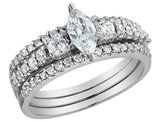 Marquise Cut Diamond Engagement Ring & Wedding Band Set 1.0 Carat (ctw) in 14K White Gold