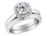 Diamond Halo Engagement Ring and Wedding Band Set 1.45 Carat (ctw) (1Ct Center) in 14K White Gold