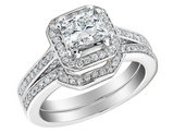 Princess Cut Diamond Engagement Ring and Wedding Band Set 1.6 Carat (ctw) (1Ct Center) in 14K White Gold (Certified)